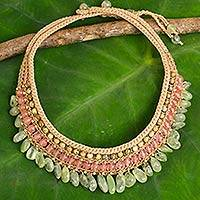 Prehnite and jasper choker, 'Jasmine Dance' - Thai Artisan Crafted Crocheted Prehnite and Jasper Choker