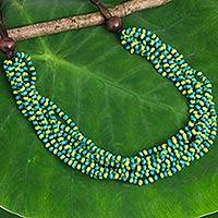 Wood beaded necklace, 'Cool Jungle Sky' - Hand Crafted Blue and Green Wood Collar Necklace Featuring T