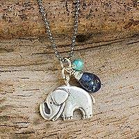 Lapis lazuli pendant necklace, 'Elephant Gems' - Silver Elephant Charm on 925 Necklace with Lapis Lazuli
