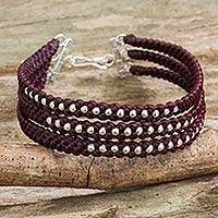 Silver beaded wristband bracelet, 'Maroon Moons' - Dark Maroon Braided Wristband Bracelet with Silver Beads