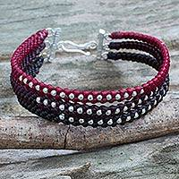 Silver beaded wristband bracelet, 'Tricolor Moons' - 3 Colors Braided Wristband Bracelet with Silver Beads