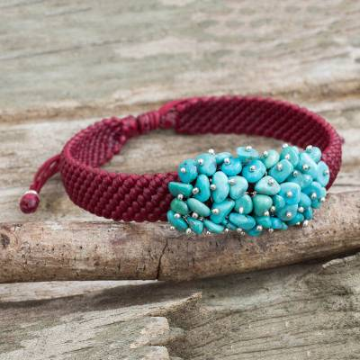 Beaded cord bracelet, 'Cranberry Chic' - Handmade Cranberry Bracelet with Reconstituted Turquoise