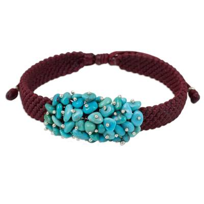 Handmade Cranberry Bracelet with Reconstituted Turquoise