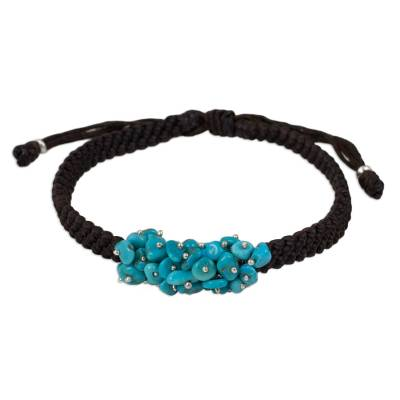 Handmade Reconstituted Turquoise and Polyester Bracelet