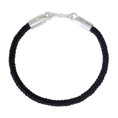 Braided Leather Cord Bracelet with Silver Elephant Clasp