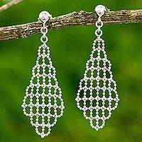 Sterling silver chandelier earrings, 'Vintage Mesh' - Thai Vintage Mesh Sterling Silver Chandelier Earrings