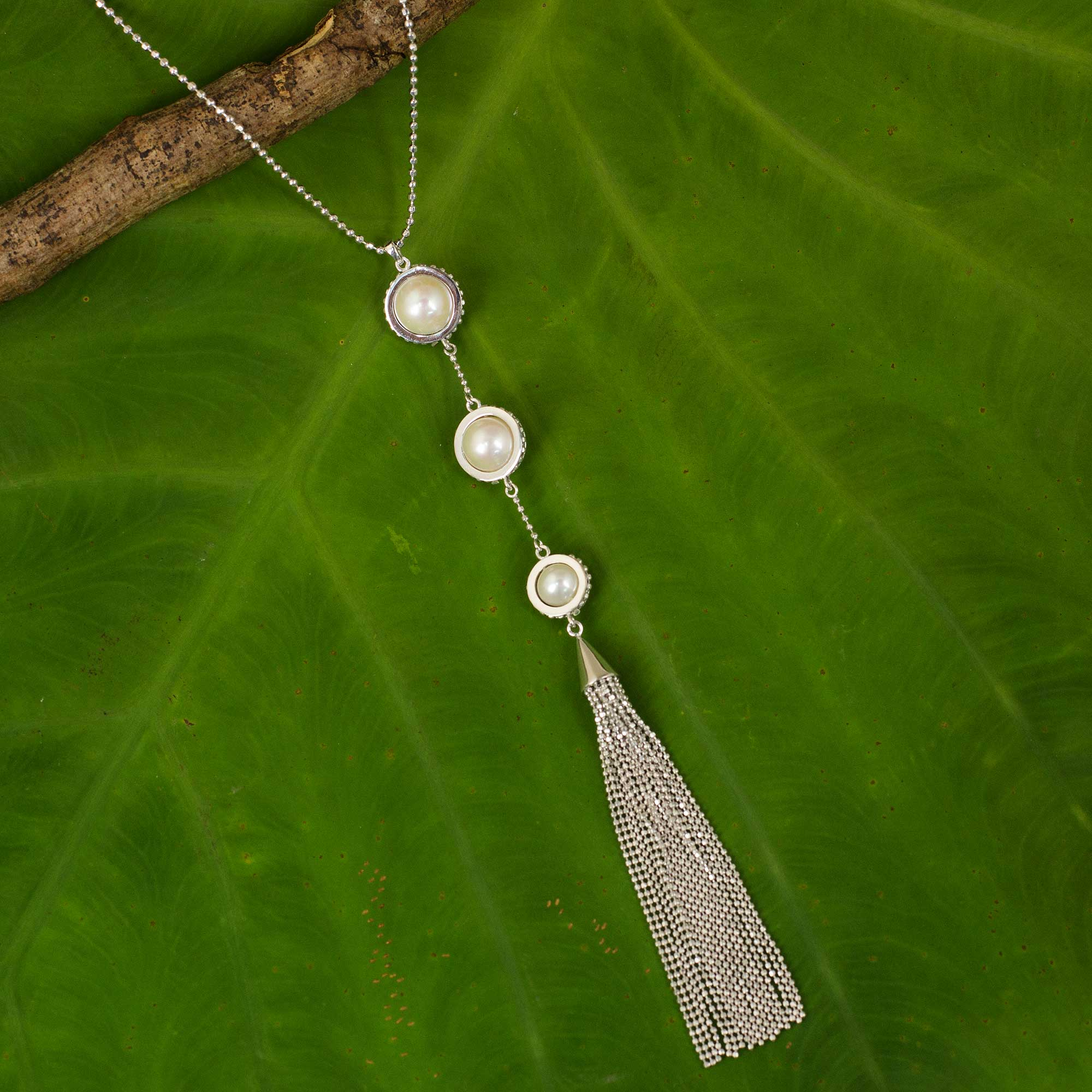 Cultured pearl pendant necklace, 'White Lily Cascade' Sterling Silver Jewelry Trends