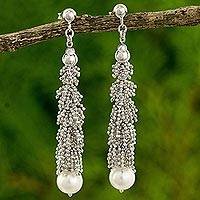 Cultured pearl beaded earrings, 'Thai Garland' - Thai Sterling Silver Beaded White Pearl Hook Earrings