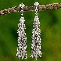 Sterling silver beaded earrings, 'Thai Garland' - Sterling Silver Beaded Hook Earrings from Thailand