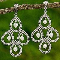 Cultured pearl chandelier earrings, 'Floral Chandelier' - Pearl Chandelier Earrings 925 Sterling Silver Beaded Jewelry