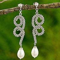Cultured pearl dangle earrings, 'Sensuous Serpentine' - Thai Long Earrings with White Pearls and 925 Sterling Silver