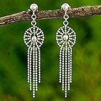 Sterling silver chandelier earrings, 'Moonbeam Cascade' - Thai Chandelier Earrings Handcrafted in Polished 925 Silver