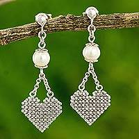 Cultured pearl and silver heart earrings, 'Pure Heart' - Sterling Silver Heart Earrings with Pearls Thai Jewelry
