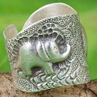 Silver wrap ring, 'Thai Couple' - Artisan Crafted 950 Silver Ring with Elephants from Thailand