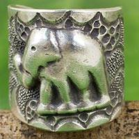Silver wrap ring, 'Thai Jungle' - Hand Crafted Silver Wrap Ring with Elephant Motif