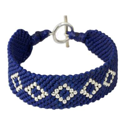 Hand Crafted Polyester Braided Bracelet with Silver Beads