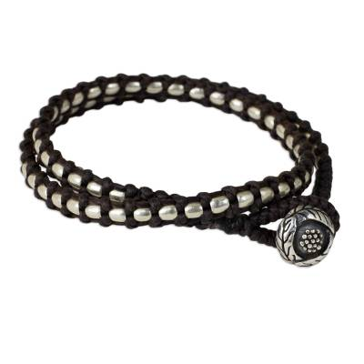 Artisan Crafted Polyester and Silver Wrap Bracelet
