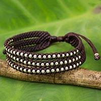 Silver accent beaded wristband bracelet, 'Dark Maroon Synergy' - Artisan Crafted Maroon Wristband Bracelet with Silver Beads