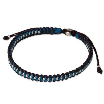 Silver accent braided bracelet, 'Bringing Friendship in Blue' - Artisan Crafted Braided Bracelet with Silver Accents