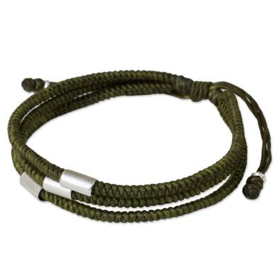 Hand Crafted Olive Green Braided Bracelet with Silver Beads