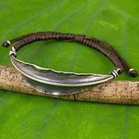 Silver wristband bracelet, 'Brown Bamboo Leaf' - 925 Silver Bamboo Leaf Pendant on Brown Wristband Bracelet