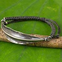 Silver wristband bracelet, 'Grey Bamboo Leaf' - Handmade 925 Silver Bamboo Leaf on Grey Wristband Bracelet