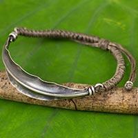 Silver wristband bracelet, 'Khaki Bamboo Leaf' - Khaki Wristband Bracelet 925 Silver Bamboo Leaf Pendant