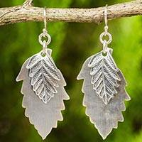 Sterling silver dangle earrings, 'Leaf Shadows' - Double 925 Sterling Silver Leaves Artisan Crafted Earrings