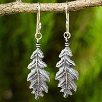 Sterling silver dangle earrings, 'Midnight Oak Leaf' - 925 Sterling Silver Oak Leaf Artisan Crafted Earrings