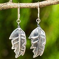 Sterling silver dangle earrings, 'Exotic Leaf' - Thai Exotic Leaf Earrings Handmade in 925 Sterling Silver