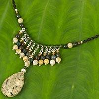 Multi-gemstone and leather pendant necklace, 'Rain in Lampang' - Thai Jasper Macrame Necklace with Agate and Green Quartz