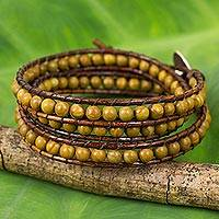 Jasper beaded wrap bracelet, 'Warm Earth' - Hand Crafted Jasper and Leather Wrap Bracelet from Thailand