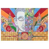 'The Buddhism IV' - Original Thai Painting of Buddha in Acrylics