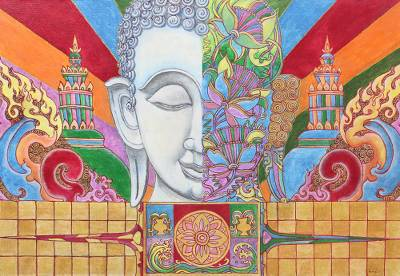 'The Buddhism IV' - Original Thai Painting of Buddha in Acrylics
