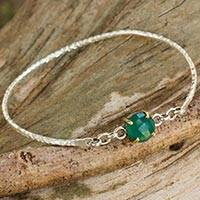 Onyx bangle bracelet, 'Green Fascination' - Sterling Silver Bangle with Green Onyx and 24k Gold Accents