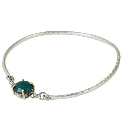 Sterling Silver Bangle with Green Onyx and 24k Gold Accents