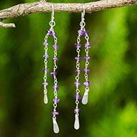 Amethyst dangle earrings, 'Regal Water Lily' - Thai Amethyst Artisan Jewelry Sterling Silver Earrings