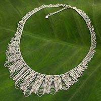 Sterling silver waterfall necklace, 'Grand Dame' - Thai Artisan Crafted Sterling Silver Waterfall Necklace