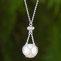 Cultured pearl pendant necklace, 'Lily Dewdrop' - Pearl and Sterling Silver Hand Crafted Pendant Necklace