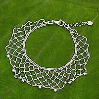 Sterling silver beaded bracelet, 'Shimmering Lace' - Beaded Lace Artisan Crafted 925 Sterling Silver Bracelet
