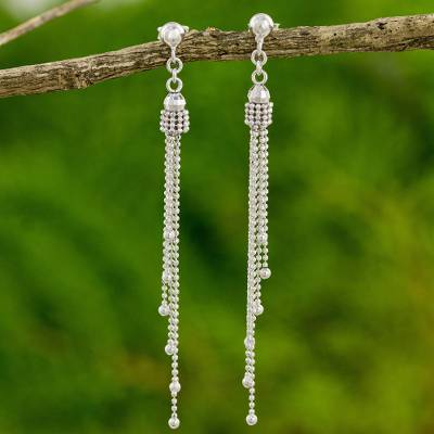 Sterling silver dangle earrings, 'Scintillating Waterfall' - Modern Thai Earrings Handcrafted in 925 Sterling Silver