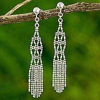 Sterling silver waterfall earrings, 'Chiang Mai Fringe' - Sterling Silver Waterfall Earrings from Thailand