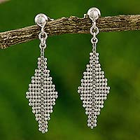 Sterling silver dangle earrings, 'Marquise' - Diamond Shape Thai Earrings with Sterling Silver Chain