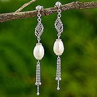 Cultured pearl dangle earrings, 'Morning Lily' - Thai Earrings with Sterling Silver Chain and Pearls