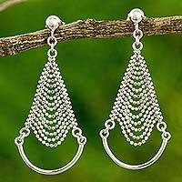 Sterling silver chandelier earrings, 'Grand Dame' - Thai Artisan Crafted Sterling Silver Chandelier Earrings
