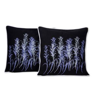 Artisan Crafted Floral Cotton Cushion Covers (Pair)