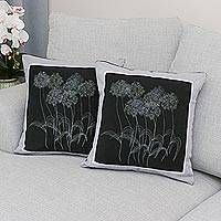 Cotton cushion covers, 'Agapanthus Floral' (pair) - 100% Cotton Floral Cushion Covers from Thailand (Pair)