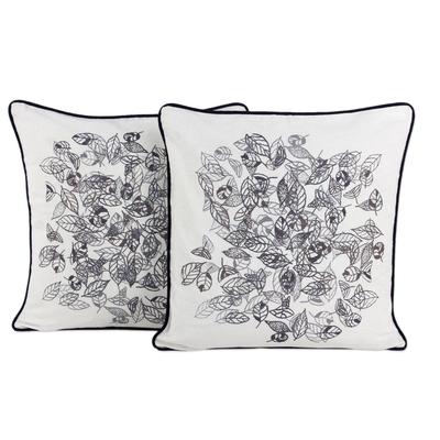 Fair Trade 100% Cotton Cushion Covers with Leaf Motif (Pair)