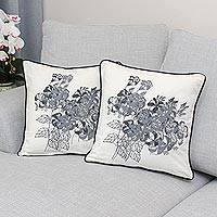 Cotton cushion covers, 'Hibiscus' (pair) - 100% Cotton Artisan Crafted Floral Cushion Covers (Pair)