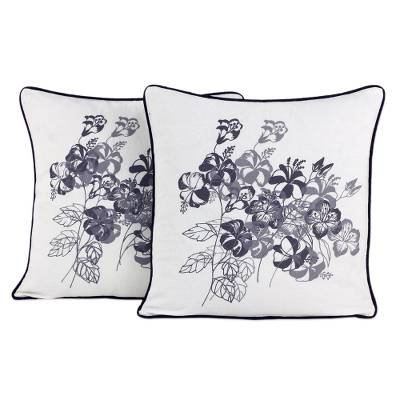 100% Cotton Artisan Crafted Floral Cushion Covers (Pair)